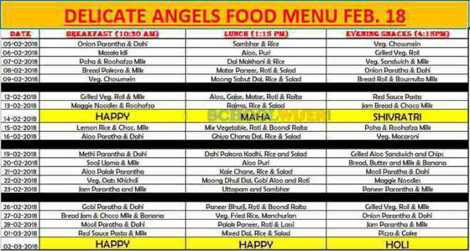 delicate angels preschool daycare sector 47 food menu 2018 19
