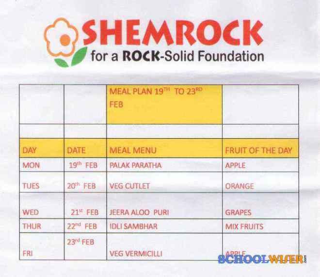 shemrock happy faces playschool sector 47 meal plan